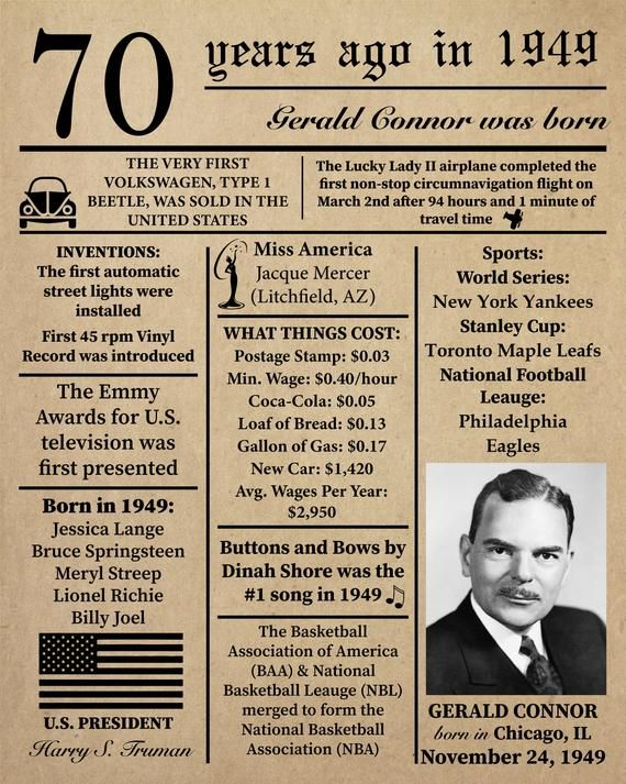 Personalized 70th Birthday 1949 Newspaper Poster Facts
