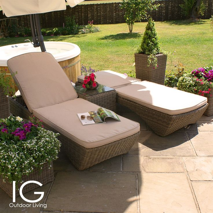 maze rattan winchester kansas rattan sun lounger set - Garden Furniture Loungers