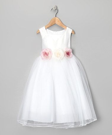Take a look at this Kid's Dream White Dupioni Rose Dress - Toddler & Girls by Wedding Perfect: Kids' Apparel on @zulily today!    This is an original pin from Daphne Hudson (myself) I just bought these on Zulilys for my flower girls.. FOR $35. No department store dress here!