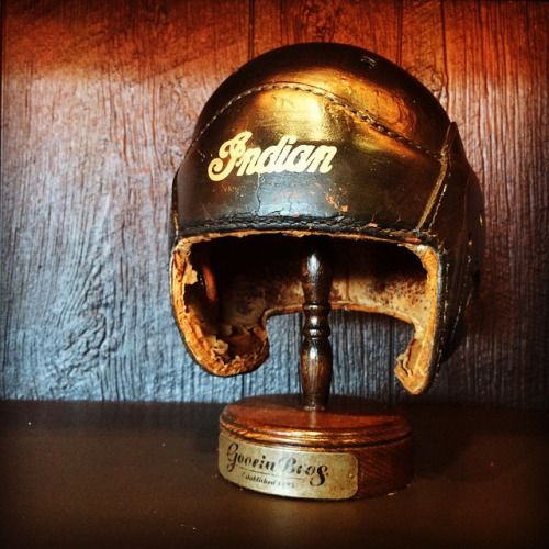 this-old-stomping-ground: Original Racer Helmet Indian 1925 #harleydavidson #motorcycle #classic #vintage #boardtracker #indian #heroes #sergebuenophotography #amazing #racer #awesome #art #indianmotorcycles #antique #rare #boardtrackracer #california #usa #atelierbueno #five #oldisgold #racing #caferacer #vincent #bsa #triumph #classic #henderson #losangeles #mvagusta