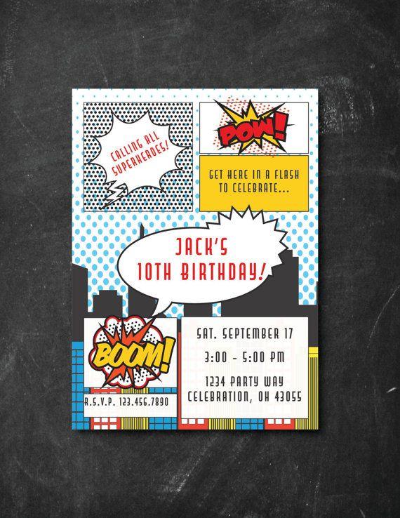 Superhero Birthday Invitation, Comic Book Invitation, Custom Invitation, Custom Birthday Invitation, Birthday Invitation