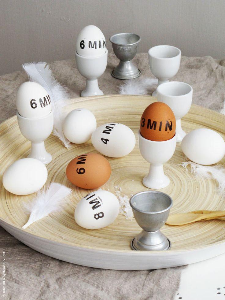 Kul idé för att hålla isär de olikt kokta äggen!