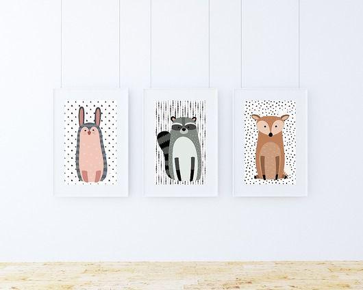 pokój dziecka - obrazy i plakaty-Zestaw plakatów / WOODLAND FRIENDS A4