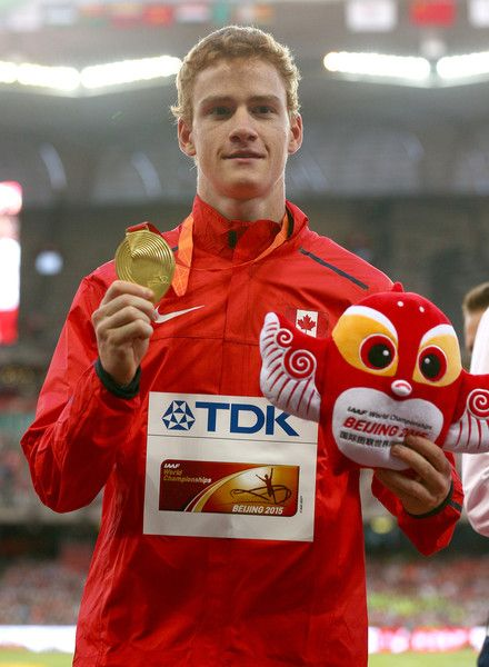Gold medalist Shawnacy Barber of Canada poses on the podium during the medal ceremony for the Men's Pole Vault final during day four of the 15th IAAF World Athletics Championships Beijing 2015 at Beijing National Stadium on August 25, 2015 in Beijing, China.
