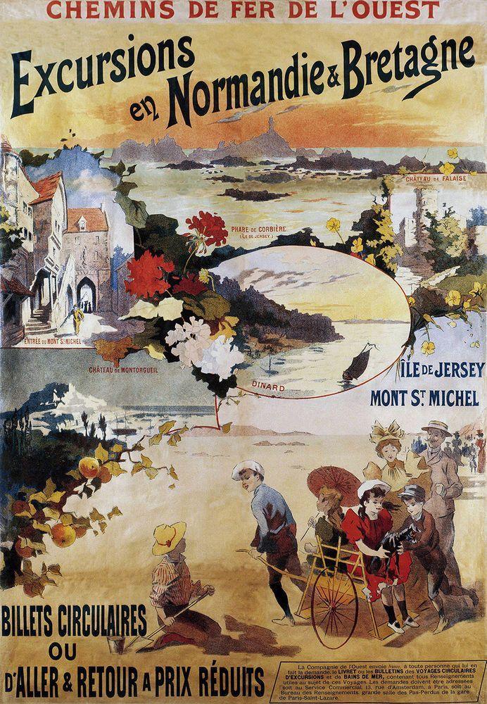 Poster Affiche vintage de guide de chemin de fer