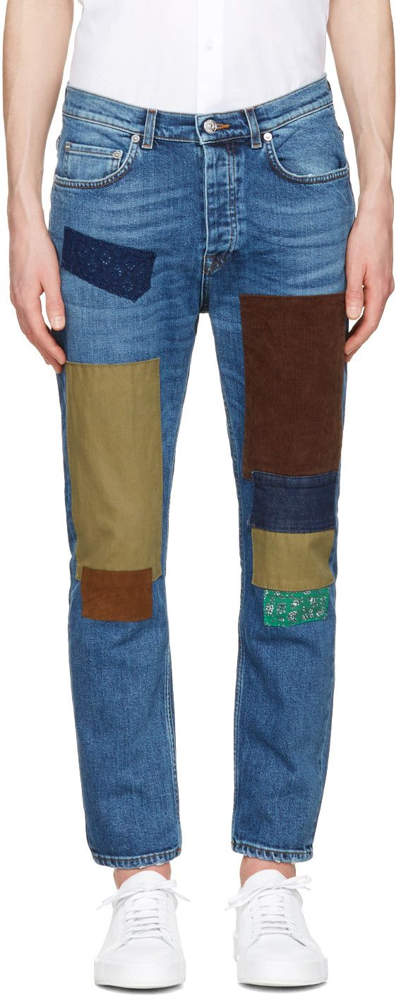 Tackle spring fashion trends handily with this ikat print maxi length - Indigo Town Patch Jeans