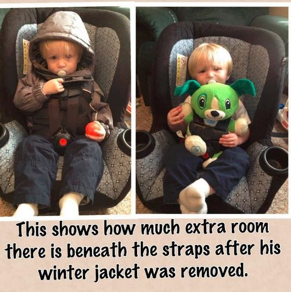 4a95734a5 DON T buckle your child into a car seat while wearing a bulky coat ...