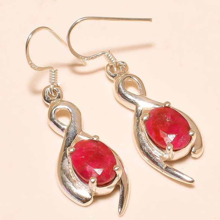 92.5% SOLID STERLING SILVER EXCELLENT FACETED KASHMIRI RUBY EARRING 4 CM #Handmade