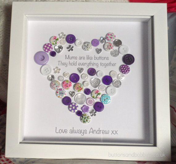 Mum Heart Button Picture Print A Beautiful Button Heart