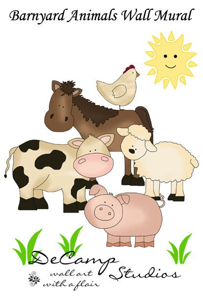 Barnyard Farm Animals Wall Art Mural Decal for baby girl boy nursery or kids room decor. This adorable mural has a horse, cow, pig, sheep, and chicken #decampstudios