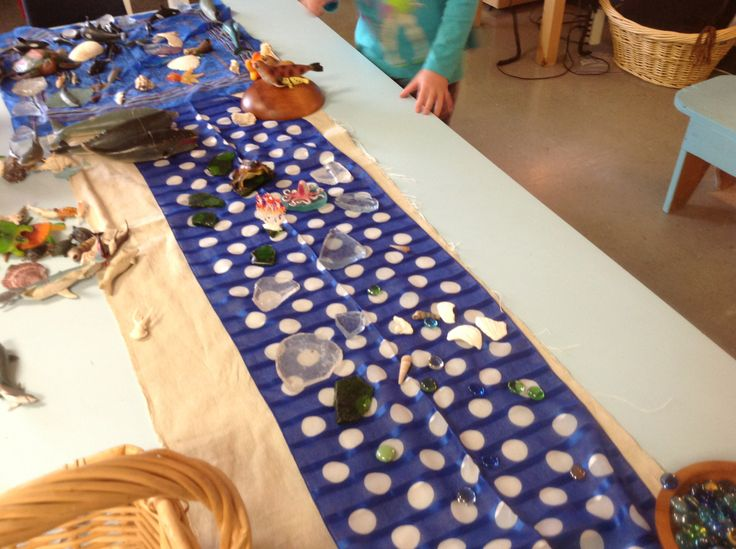 Our classroom creating with Loose Materials Oceans