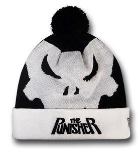 Punisher Symbol Pom Pom Beanie