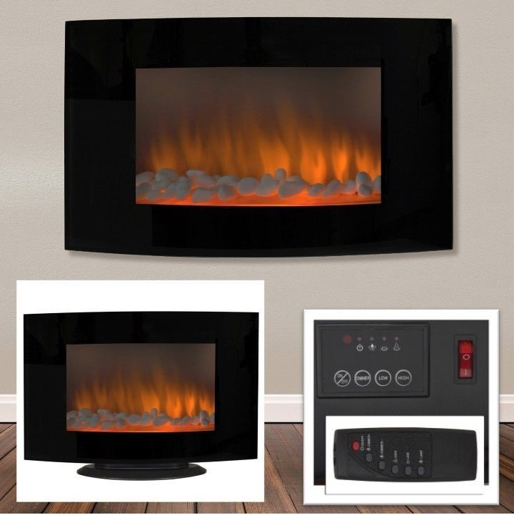 Wall Mount Electric Fireplace Heater Freestanding Glass Remote Heating 1500 W  #PerfectHomeSavings