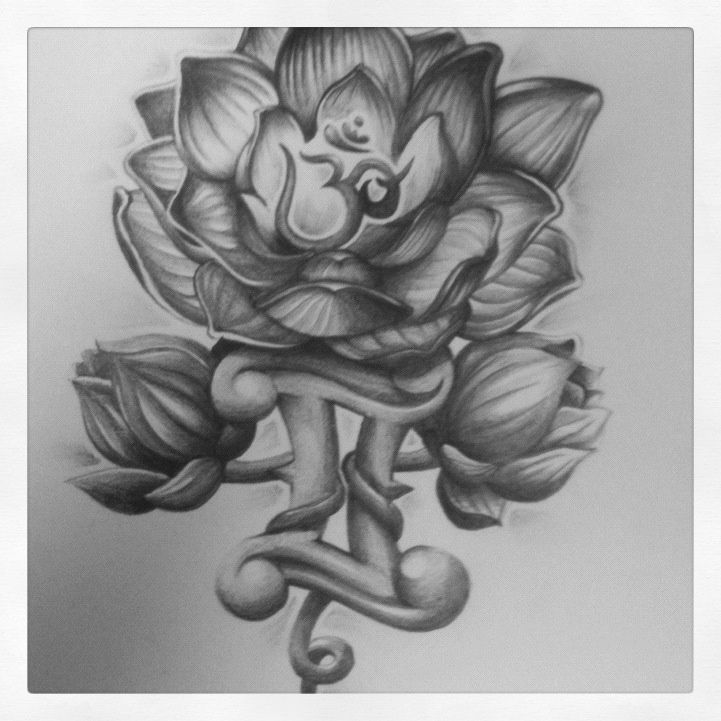 Gemini Tattoos With Flowers Ohm lotus tattoo design.