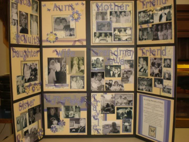 """Message Boards - """"Neat ideas for collage board for funeral"""" Pictures brought by family & friends are incorporated in each panel"""