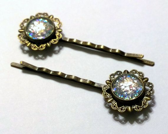 A pair of lovely antique style, flower hair pins! These 12mm glass jewels are hand painted with a silver holographic glitter nail polish that