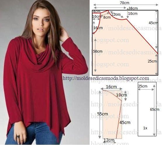 Camisola com bicos fácil de fazer. As medidas facilitam a modelagem desta camisola. A escolha do tecido fica ao critério de cada um, dependendo da estação