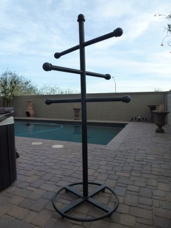 Custom Wrought Iron Powder Coated Outdoor Towel Rack.