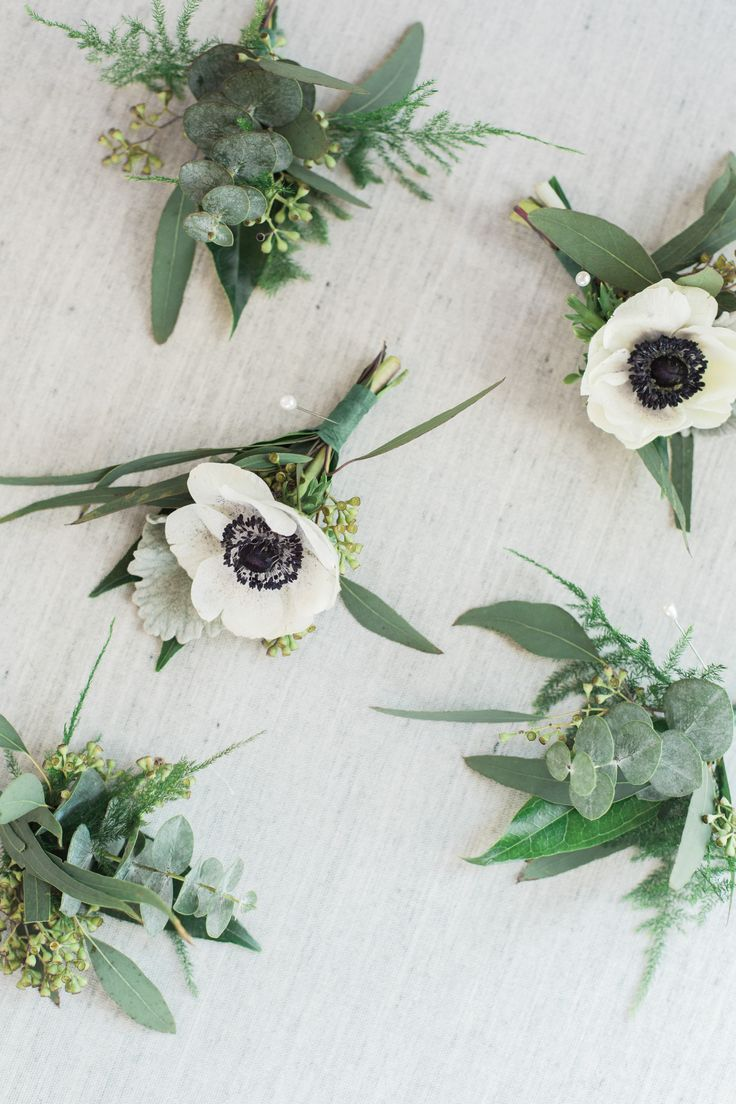 Anemone Boutonniere, Flowers, Simple Boutonniere, Greenery  Made by: RLM Affairs