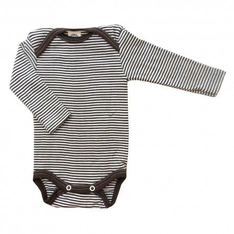 Bodysuit long sleeve, wool/silk, brown/white striped, Cosilana