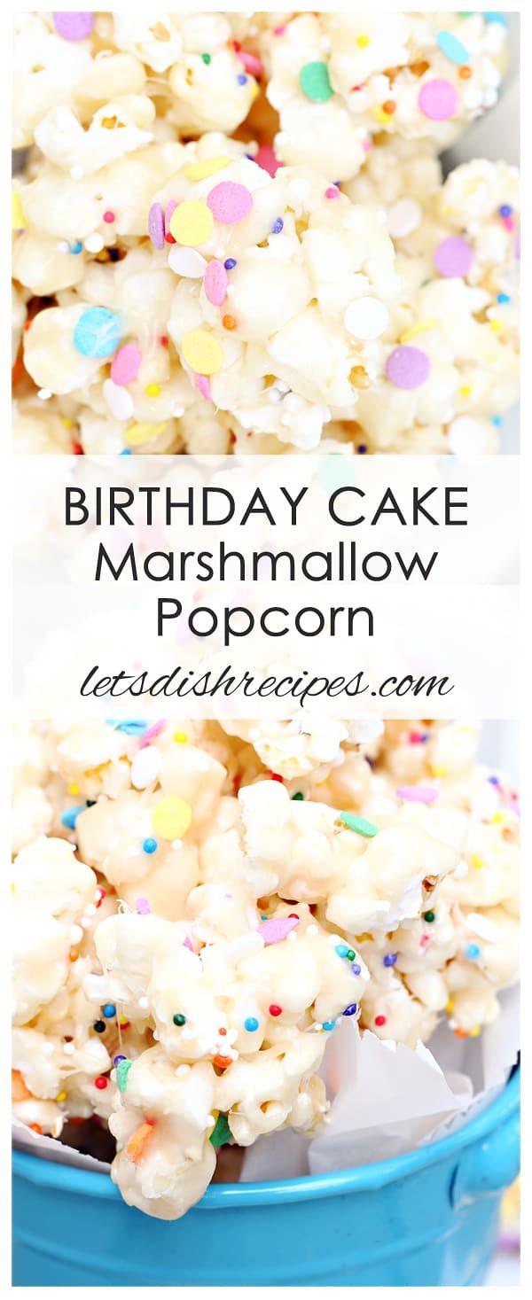 Geburtstagstorte Marshmallow Popcorn Rezept: Popcorn ist mit einem zähen …   – sprinkles