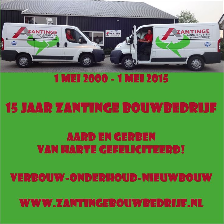 Aard Zantinge en Gerben Kraeima van Zantinge Bouwbedrijf van harte gefeliciteerd met het 15-jarig bestaan van Zantinge Bouwbedrijf. http://koopplein.nl/middendrenthe/387707/zantinge-bouwbedrijf-uit-beilen-van-harte-gefeliciteerd.html