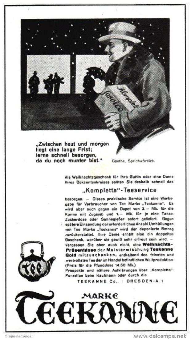 Original-Werbung/ Anzeige 1929 - TEEKANNE TEE  - ca. 100 x 170 mm