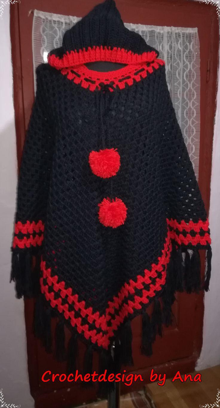 Crochet  hoodie poncho