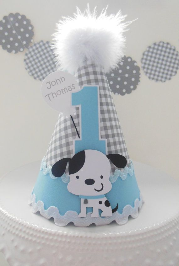 Lil' Gingham Puppy Dog Birthday Party Hat - Gray Gingham, Blue, White - Black and White Puppy - Personalized