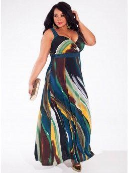 Trista Maxi Dress in Jade Wave