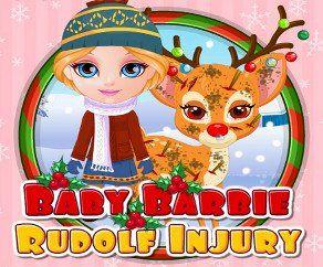 Baby Barbie Rudolf Injury, http://www.mybabybarbiegames.com/game/baby-barbie-rudolf-injury. A rumor reached baby Barbie's ears that Rudolf, Santa's trusted reindeer, is badly injured.