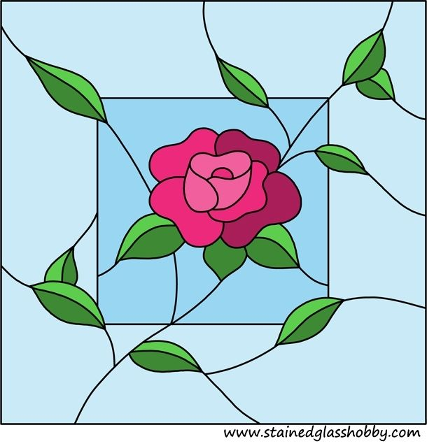 Flower panel stained glass design