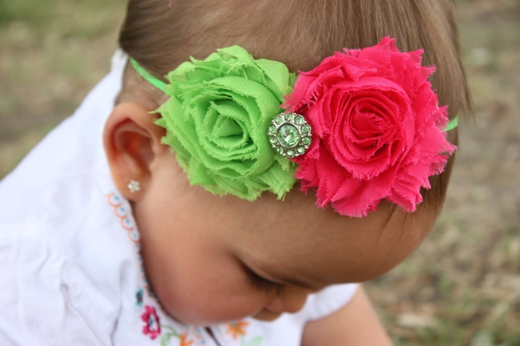 Neon Green  Hot Pink Shabby Rosette with Gem by ladybows10, $7.99