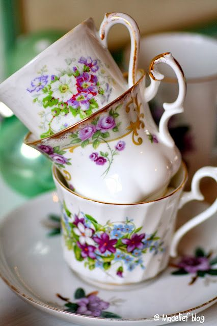 Vintage teacups---perfect for a springtime tea party!