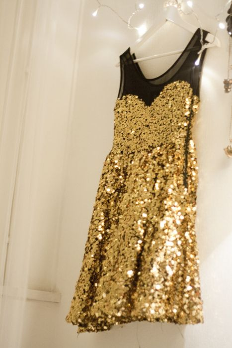 Champagne sequins and black netting