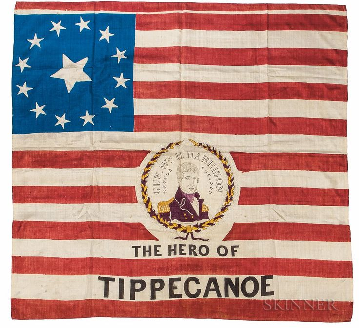 "William Henry Harrison ""The Hero of Tippecanoe"" Silk Campaign Banner.   Lot 414   Auction 3022M   Estimate $4,000-6,000"