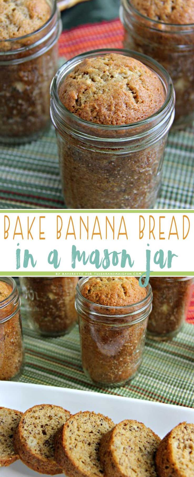 This traditional banana bread features an ingenious twist: It is baked in a canning jar! Such a fun and unique presentation makes it perfect for gifts.