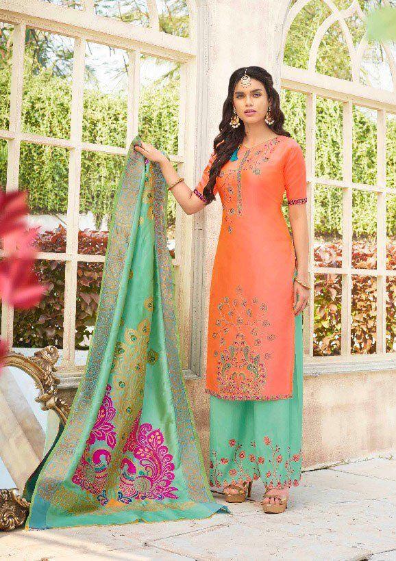 1603e217db Peach Palazzo Suit with Banarasi Dupatta | Partywear Salwar Kameez ...