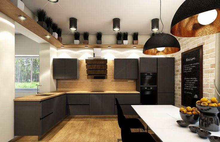 Черная кухня в стиле лофт 14 кв. метров
