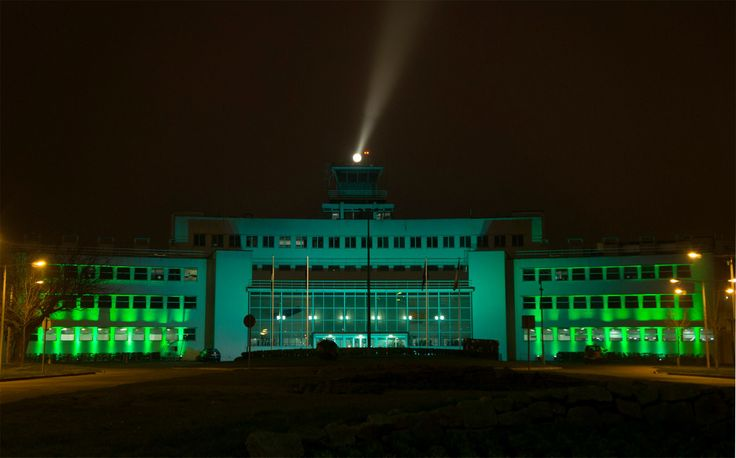Dublin Airport's original 1940s terminal building has gone green for Saint Patrick's Day. #GlobalGreening #SaintPatricksDay #StPatricks #PaddysDay #StPatricksDay #StPaddysDay