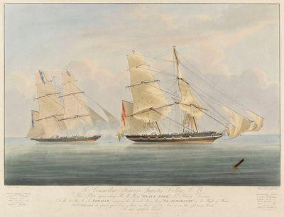 HM brig 'Black Joke' engaging the Spanish slave brig 'El Almirante' Posters & Art Prints by William John Huggins - Magnolia Box