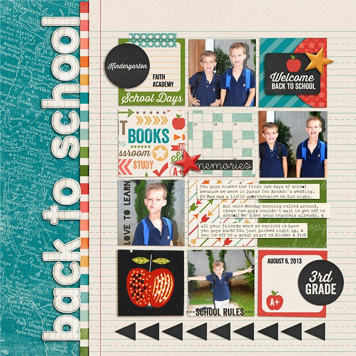 Very cute back to school scrapbook page!  Love everything about this page!