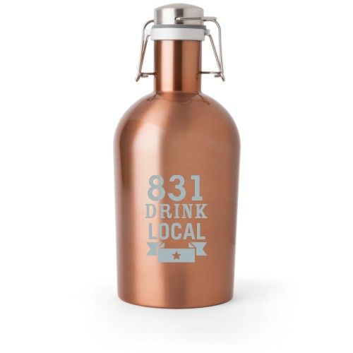 Drink Local Growler, Growler Double Side, Stainless Steel, Copper, White