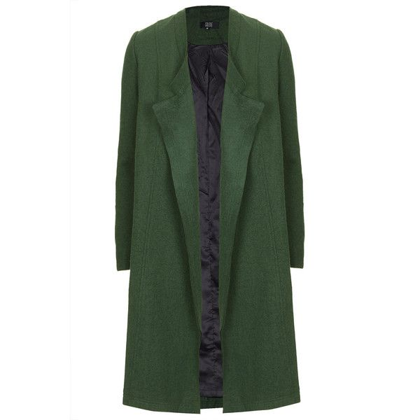 **Swing Coat by Goldie (€61) ❤ liked on Polyvore featuring outerwear, coats, jackets, coats & jackets, green, fitted coat, green coat, swing coat, trapeze coat and green swing coat