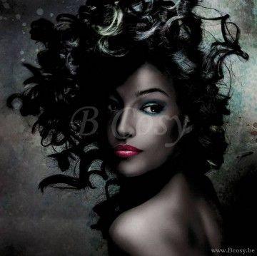 PR Interiors Glaspaneel 80 De Ebben dame-vrouw met zwarte haren - rode lippen en zwart haar