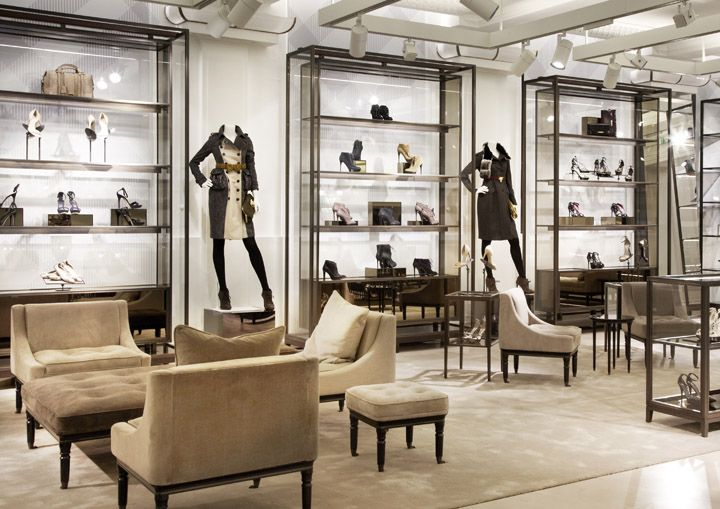 Burberry flagship store, London store design - elegant furniture and display cabinets.