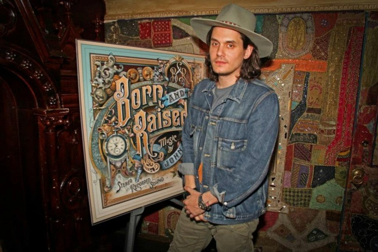 John Mayer rocking some rugged Western wear with cowboy hat and denim jacket at a fan meet and greet in House of Blues Cleveland.