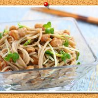 納豆ゆずこしょうマヨ和え蕎麦
