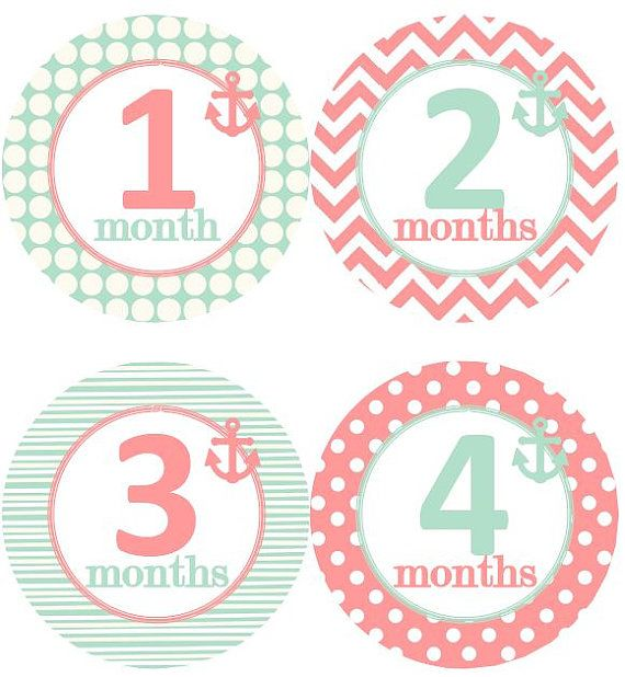 Baby Monthly Milestone Growth Stickers Nautical Mint Coral Pink Anchor Nursery T… – little p (girl)
