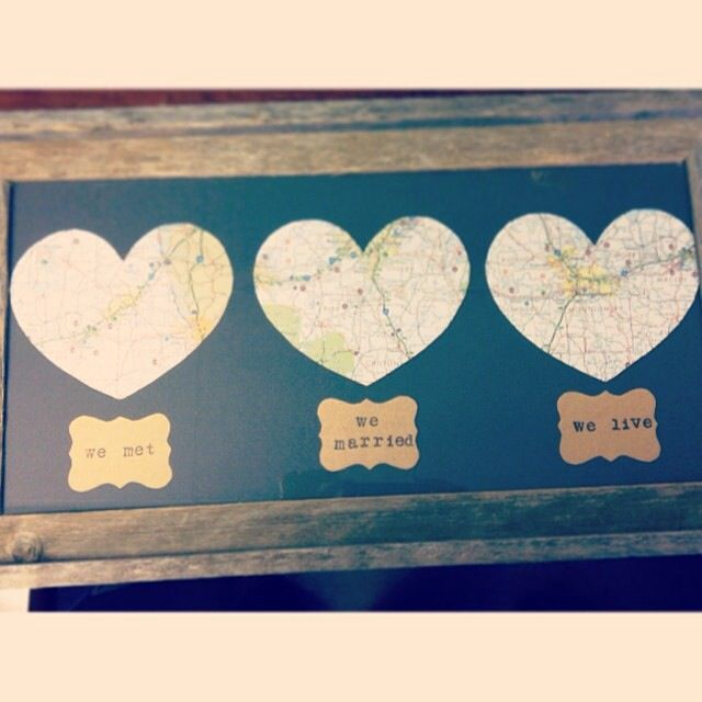The love map I made my husband for our 1st anniversary {paper anniversary}! I just got a heart template from the internet  cut a map in the places we met, married  live. I used some stamps to make the labels  got the frame  matting done at Hobby Lobby. A little double stick tape  you have a very easy  thoughtful gift! I got him some coach stationary too since he's a first year teacher.